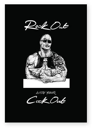 The rock in sunglasses with a cockerel in front of him, ROCK OUT FUNNY CARD, HOW FUNNY GREETING CARD