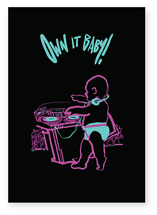 Neon Baby DJ mixing on decks in club, OWN IT BABY! FUNNY CARD, HOW FUNNY GREETING CARD
