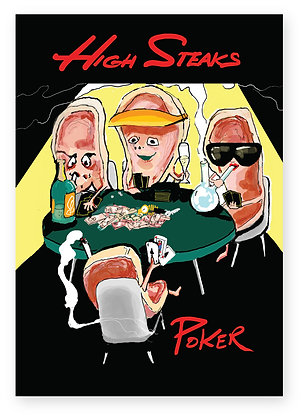 Three high steaks sitting down playing poker, HIGH STEAKS POKER FUNNY CARD, HOW FUNNY GREETING CARD