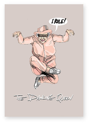 THE QUEEN WEARING SUNGLASSES AND A TRACKSUIT DANCING, The Dancing Queen FUNNY CARD, HOW FUNNY GREETING CARD