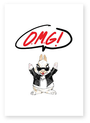 Excited rabbit in sunglasses and leather jacket, O.M.G! FUNNY CARD, HOW FUNNY GREETING CARD
