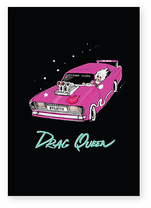 Drag queen in dragster car smiling, DRAG QUEEN FUNNY CARD, HOW FUNNY GREETING CARD