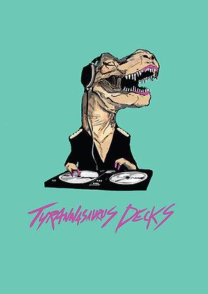 Female Tyrannosaurus Rex DJing,Tyra Decks A4 Funny Print, How Funny Prints, Funny Wall Art, Humour Print