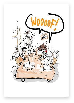 Two happy dogs bouncing on bed, WOOOOF! FUNNY CARD, HOW FUNNY GREETING CARD
