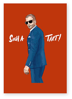 SHAVED HEAD, MAN IN SUIT, SUNGLASSES, TART, FUNNY CARD, HOW FUNNY