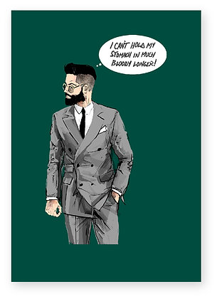 MAN IN SUIT, BEARD, GLASSES, SHAVED HAIR, FUNNY CARD, HOW FUNNY