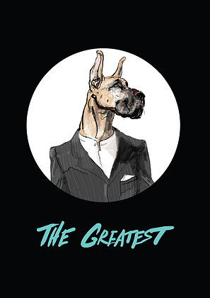 Great Dane In Grey Suit,The Greatest A4 Funny Print, How Funny Prints, Funny Wall Art, Humour Print