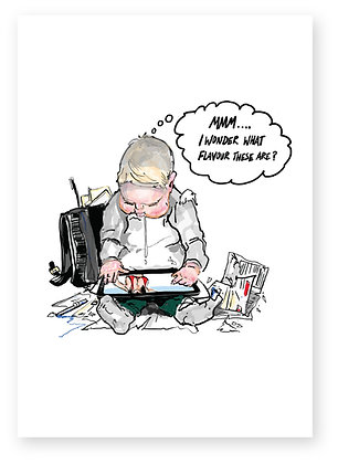 Baby looking at breasts on daddy's tablet device, MILK FLAVOUR FUNNY CARD, HOW FUNNY GREETING CARD