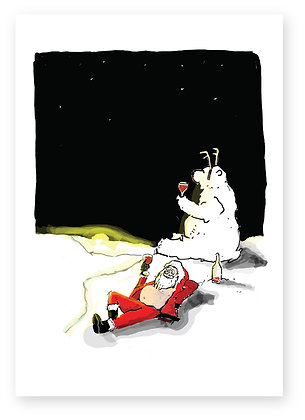 Santa and polar bear drinking wine, DRINKING POLAR BEAR & SANTA FUNNY CARD, HOW FUNNY GREETING CARD