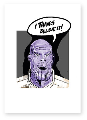 THANOS, ALIEN LOOKING SUPRISED, MARVEL, FUNNY CARD, HOW FUNNY