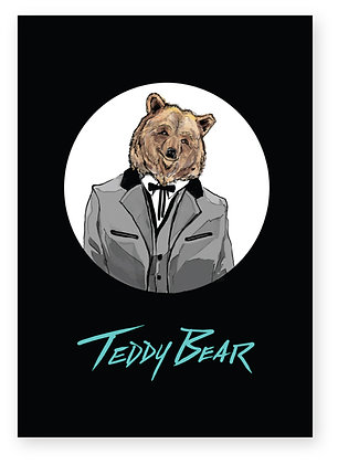 Brown bear wearing a teddy boy suit, TEDDY BEAR FUNNY CARD, HOW FUNNY GREETING CARD