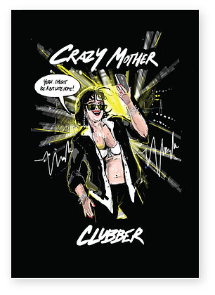 Mum on phone in nightclub, MOTHER CLUBBER FUNNY CARD, HOW FUNNY GREETING CARD