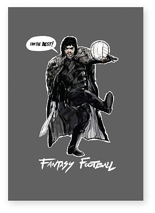 George best dressed as Jon Snow playing football, FANTASY FOOTBALL FUNNY CARD, HOW FUNNY GREETING CARD