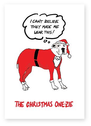 Great Dane in a Christmas one-zie, DOG CHRISTMAS ONE-ZIE FUNNY CARD, HOW FUNNY GREETING CARD