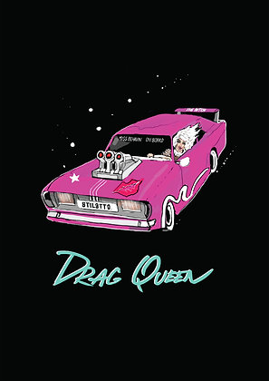 Drag Queen In Dragster Car, Drag Queen A4 Funny Print, How Funny Prints, Funny Wall Art, Humour Print
