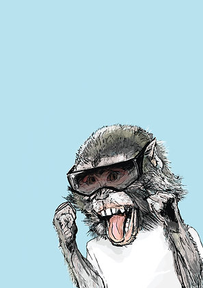 Baby Chimp In Sunglasses, Cheeky Monkey A4 Funny Print, How Funny Prints, Funny Wall Art, Humour Print
