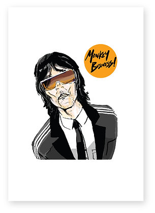 IAN BROWN, MONKEY, BUSINESS SUIT, SUNGLASSES, SINGER, FUNNY CARD, HOW FUNNY