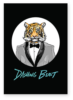 Dashing tiger wearing bow tie and tuxedo, DASHING BEAST FUNNY CARD, HOW FUNNY GREETING CARD