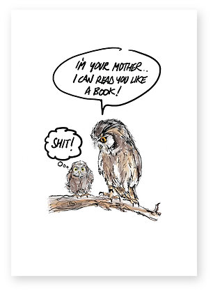 Mother owl and surprised baby owl on tree branch, READ YOU FUNNY CARD, HOW FUNNY GREETING CARD