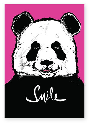 Panda smiling on pink background, PANDA SMILE FUNNY CARD, HOW FUNNY GREETING CARD