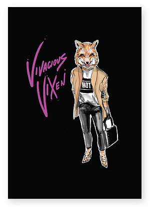 Smiling female fox wearing trendy clothes and heels, VIVACIOUS VIXEN FUNNY CARD, HOW FUNNY GREETING CARD