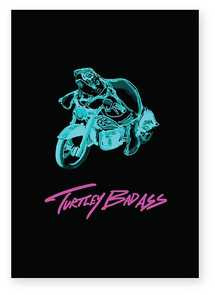Neon cool turtle riding motorbike, TURTLEY BAD ASS FUNNY CARD, HOW FUNNY GREETING CARD