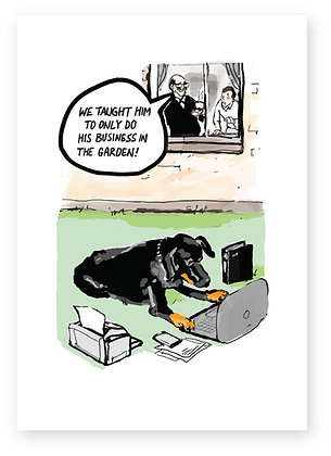 Black Dog working on laptop in garden, DOG BUSINESS FUNNY CARD, HOW FUNNY GREETING CARD