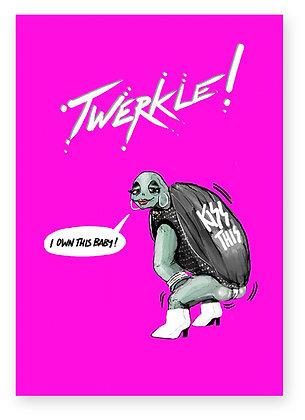 Twerk, turtle, high heels, dancing, funny card, how funny