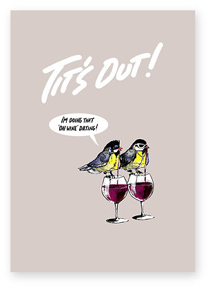 Tits on night out drinking wine, Tit's Out How Funny Greeting Card,How Funny Rude Greeting card,How Funny Birthday Card,