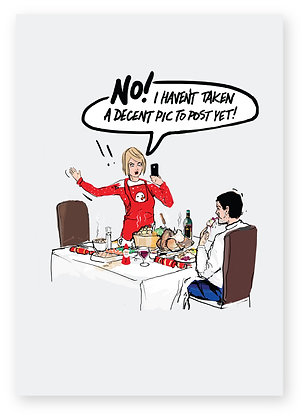 Women getting annoyed at Man at the Christmas dinner table, DECENT PIC FUNNY CARD, HOW FUNNY GREETING CARD