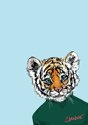 Baby Tiger In Jumper, Tiny Tiger A4 Funny Print, How Funny Prints, Funny Wall Art, Humour Print