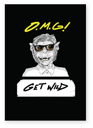 Monkey in sunglasses and polo shirt, GET WILD FUNNY CARD, HOW FUNNY GREETING CARD