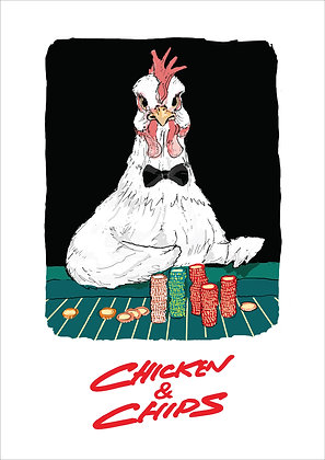 Chicken In Bow Tie At Casino,Chicken & Chips Funny Print, How Funny Prints, Funny Wall Art, Humour Print