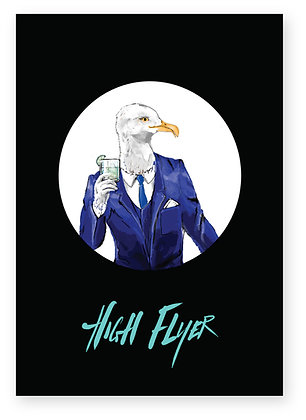 Smart seagull wearing suit and holding gin & tonic, HIGH FLYER FUNNY CARD, HOW FUNNY GREETING CARD