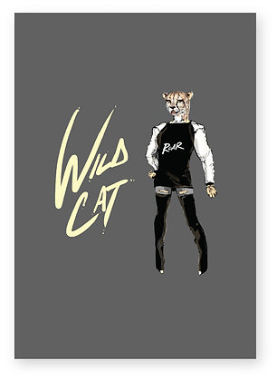 Wild female cheetah in thigh high boots, WILD CAT FUNNY CARD, HOW FUNNY GREETING CARD