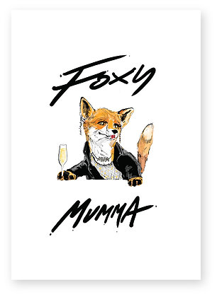 Foxy mother holding glass of champagne, FOXY MUMMA FUNNY CARD, HOW FUNNY GREETING CARD