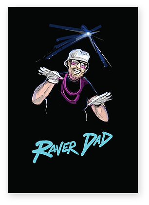 Dad at a rave wearing hat and white gloves, RAVER DAD FUNNY CARD, HOW FUNNY GREETING CARD