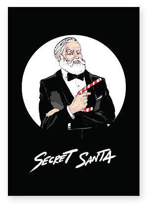 Santa dressed as James bond smiling, SECRET SANTA FUNNY CARD, HOW FUNNY GREETING CARD
