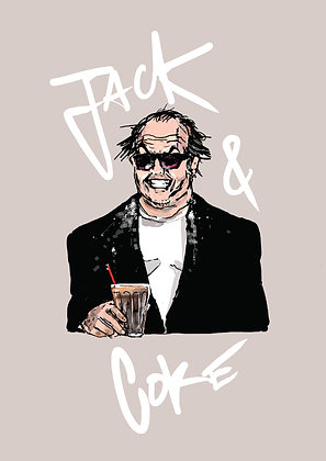 Jack Nicholson With A Drink, Jack & Coke A4 Funny Print, How Funny Prints, Funny Wall Art, Humour Print