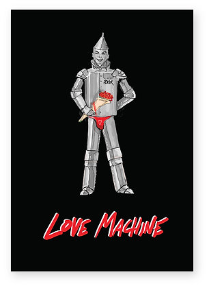 The tin man in red briefs holding a bunch of roses, LOVE MACHINE FUNNY CARD, HOW FUNNY GREETING CARD