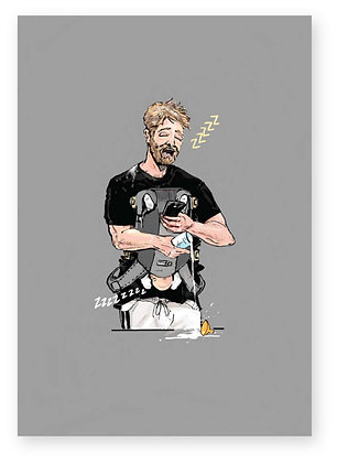 Tired dad with baby in harness upside down, NEW DAD FUNNY CARD, HOW FUNNY GREETING CARD