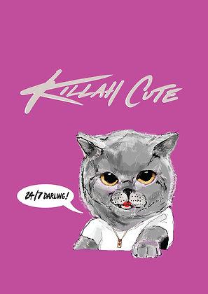Cute Kitten In White T-Shirt,Killah Cute A4 Funny Print, How Funny Prints, Funny Wall Art, Humour Print
