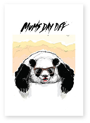 Panda mother lying down relaxing, PANDA MUM FUNNY CARD, HOW FUNNY GREETING CARD