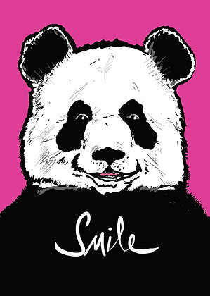Panda Smiling On Pink Background,Panda Smile Funny Print, How Funny Prints, Funny Wall Art, Humour Print