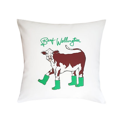 Cow Wearing Green Wellingtons,Beef Wellington Funny Cushion, How Funny Cushion, Brown,White & Green, 45cm x 45cm, Funny Gift
