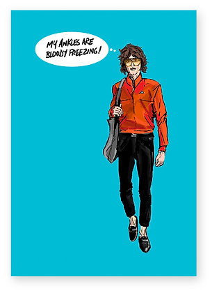 Long haired man, short trousers, sunglasses, funny card, fashion, how funny