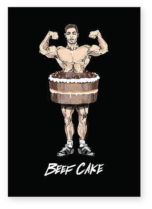 MUSCLEMAN POSING WEARING A CAKE, BEEF CAKE FUNNY CARD, HOW FUNNY GREETING CARD