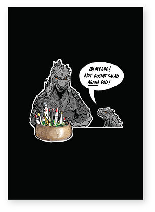 Godzilla and baby making salad with actual rockets, ROCKET SALAD DAD FUNNY CARD, HOW FUNNY GREETING CARD