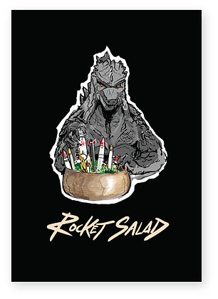 Godzilla making salad with actual rockets, ROCKET SALAD FUNNY CARD, HOW FUNNY GREETING CARD