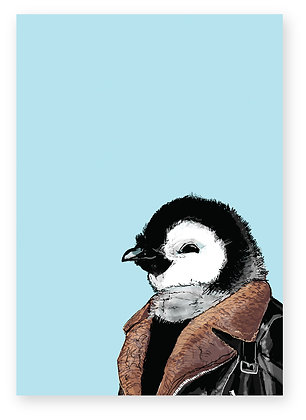 Baby penguin wearing shearling coat smiling, Cool Chick FUNNY CARD, HOW FUNNY GREETING CARD